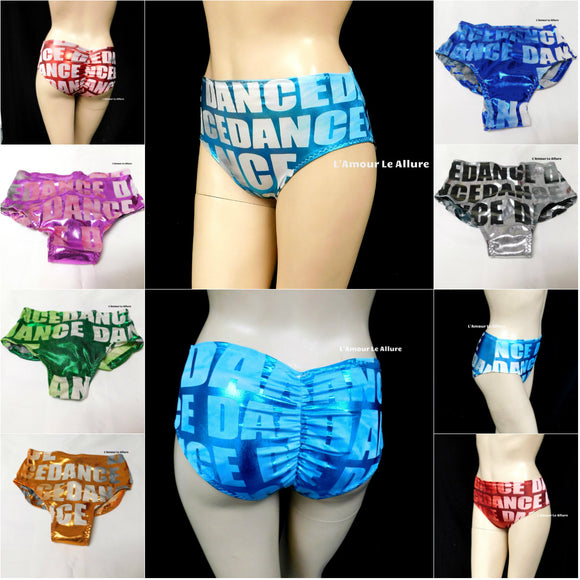Metallic Tie Dye Scrunchie Dance Boyshorts Panty Bikini Bottom