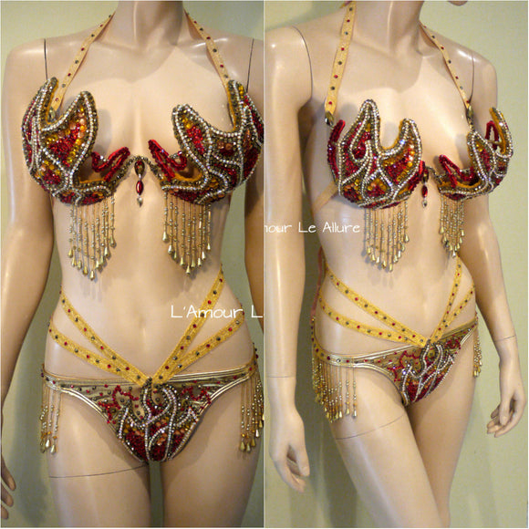 Gold and Red Phoenix Girl On Fire Flame Samba Bra and Bottom Dance Cage Rave Bra