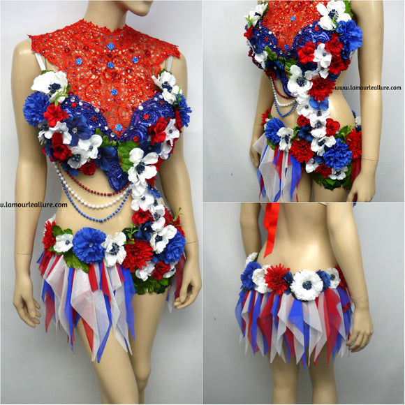 {SALE ITEM} 4th Of July USA Red White and Blue Fairy Monokini Bra and Shorts Costume