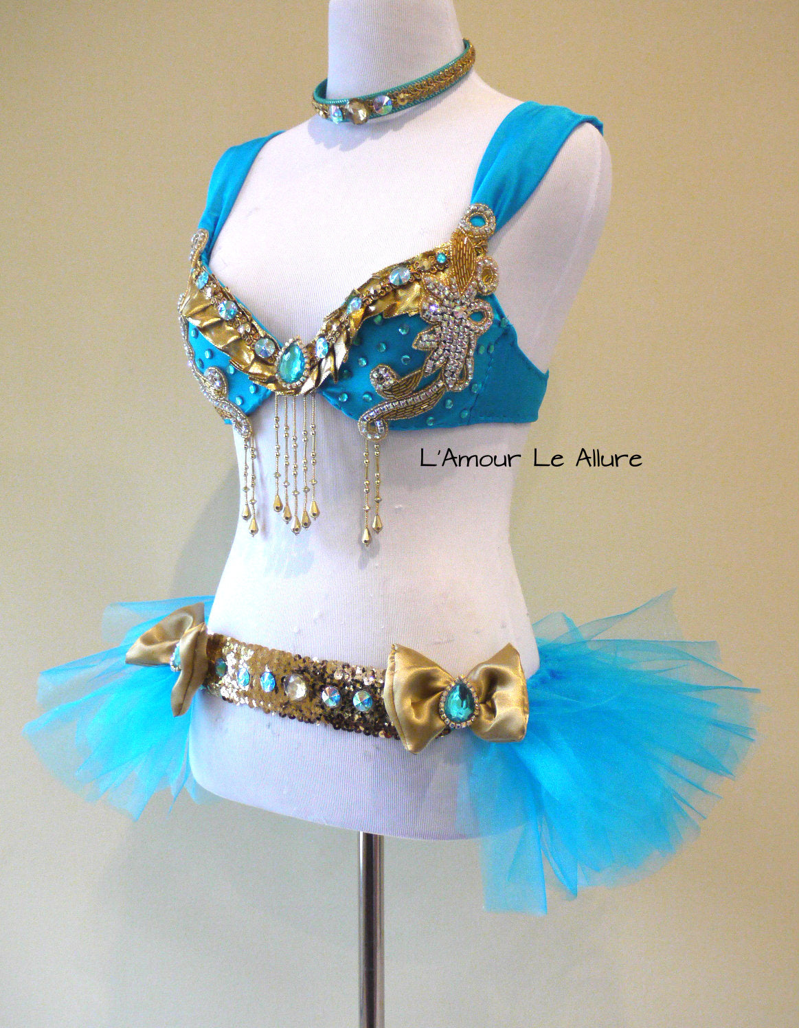 Disney Princess Jasmine Cosplay Dance Costume Rave Bra Halloween