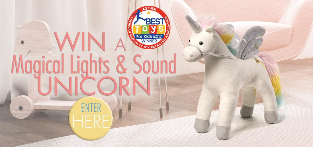 Win a magical sounds and light unicorn from Gund