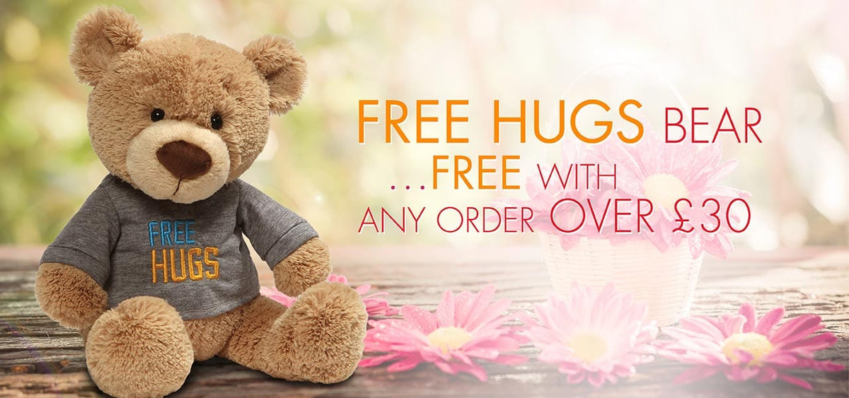 Free hugs bear with any order over £30