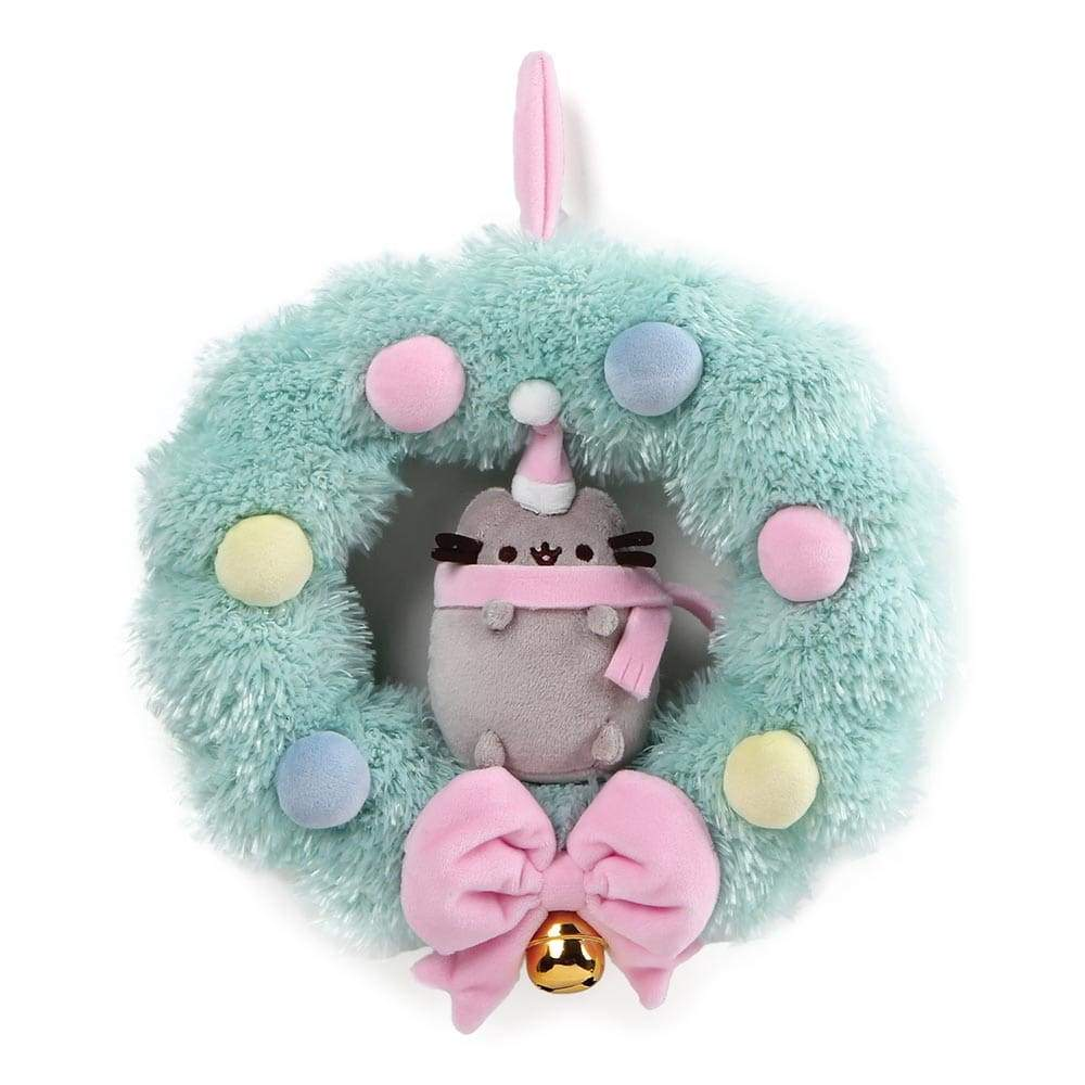 Pusheen Wreath Christmas Soft Toy With Bow And Gold Bell