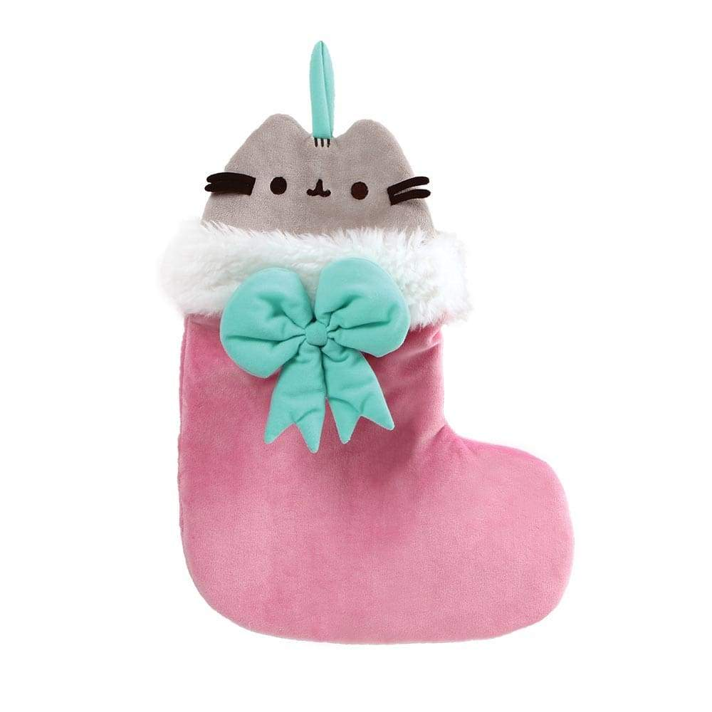 Pusheen Stocking Soft Toy With Cute Green Bow And Hanger