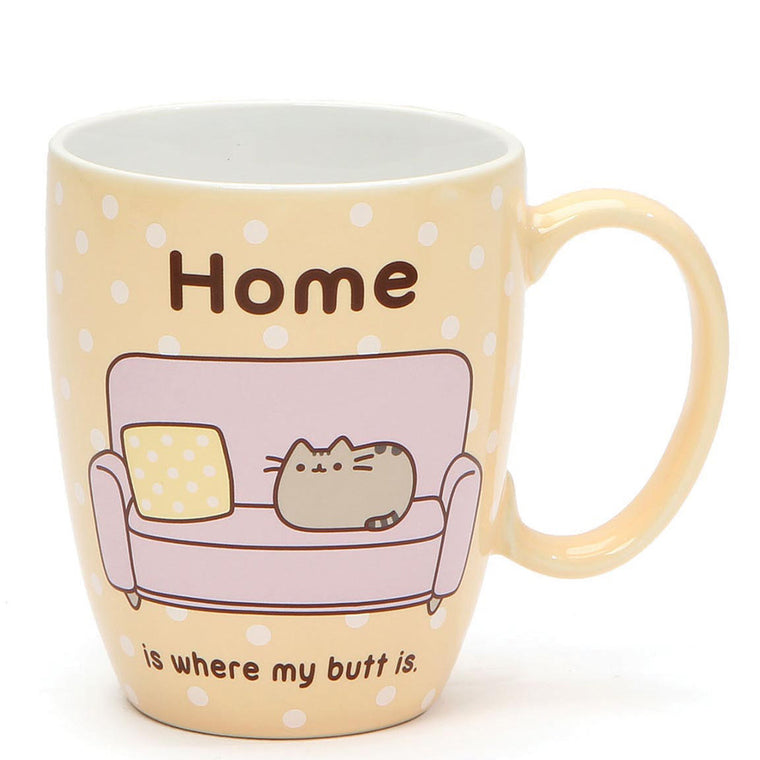 "Pusheen ""Home is where my butt is"" Yellow Polka Dot Mug"