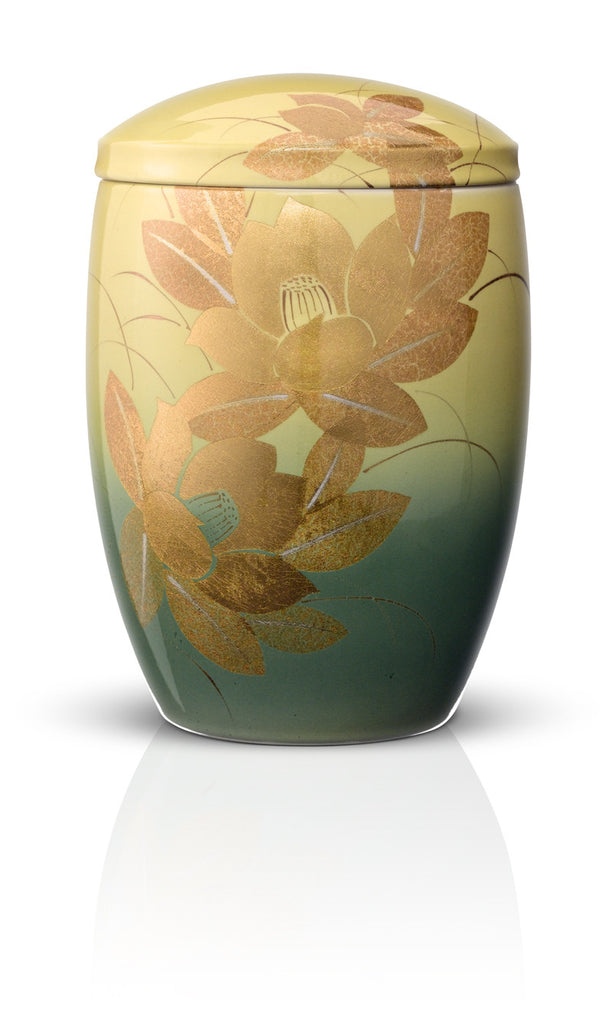 japanese cremation urns for ashes golden blooms