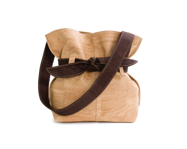 Vegan Shoulder Bag w/ Big Bow | Natural - Vegan Shoes Rutz