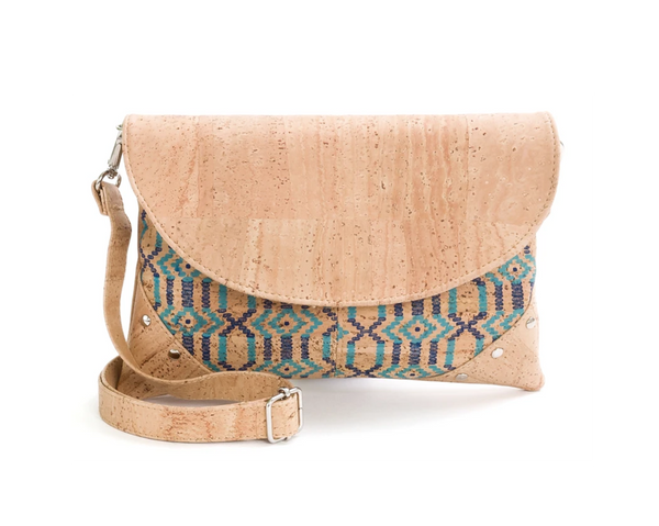 Vegan Shoulder Bag w/ Tacks | Ethnic Blue - Vegan Shoes Rutz