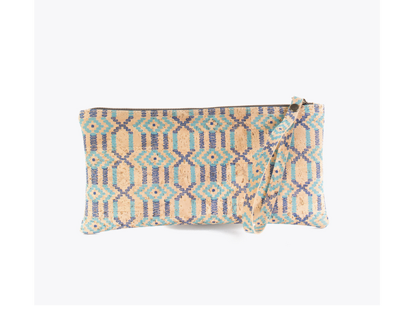 Vegan Clutch/Wristlet | Ethnic Blue