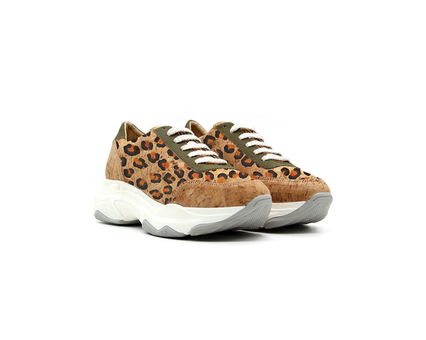 Oversized Sneakers | Natural, Leopard & R-PET Green - Vegan Shoes Rutz