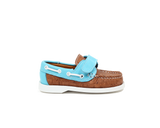 Eco Kids Boat Shoe | Beige / Light Blue - Vegan Shoes Rutz