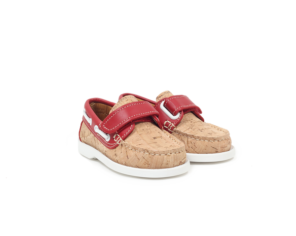Eco Kids Boat Shoe | Natural / Red - Vegan Shoes Rutz