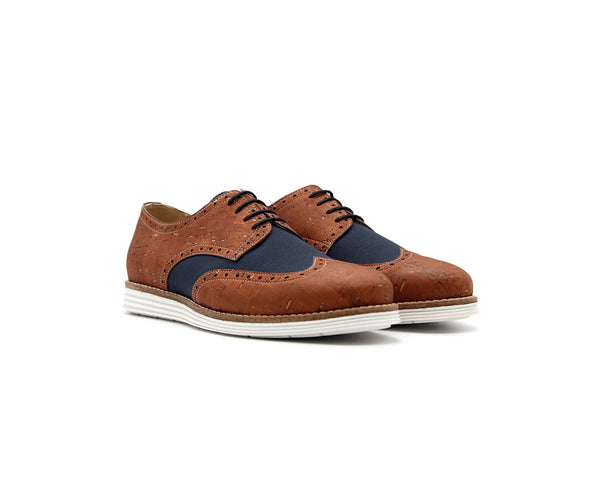 Vegan Casual Derby | Beige & R-PET Blue - Vegan Shoes Rutz