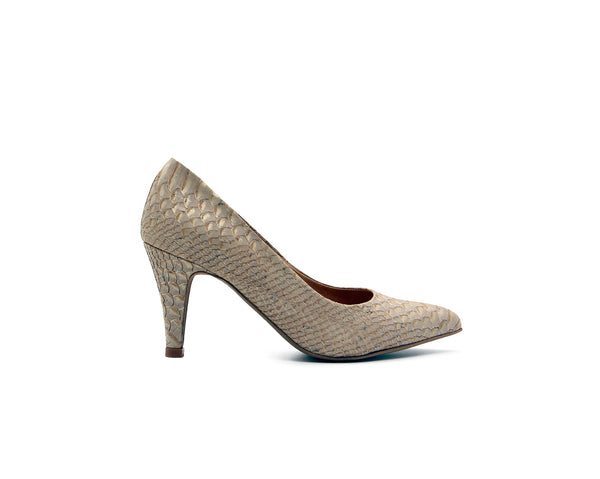Mid Heel Pumps | White Snake - Vegan Shoes Rutz