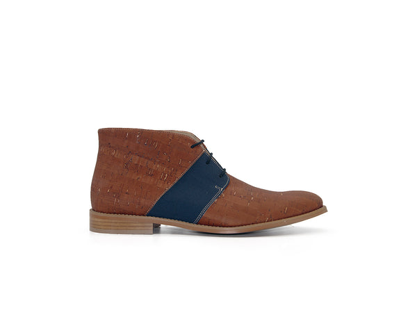 Vegan Casual Boot | Beige & Recycled PET Blue - Vegan Shoes Rutz