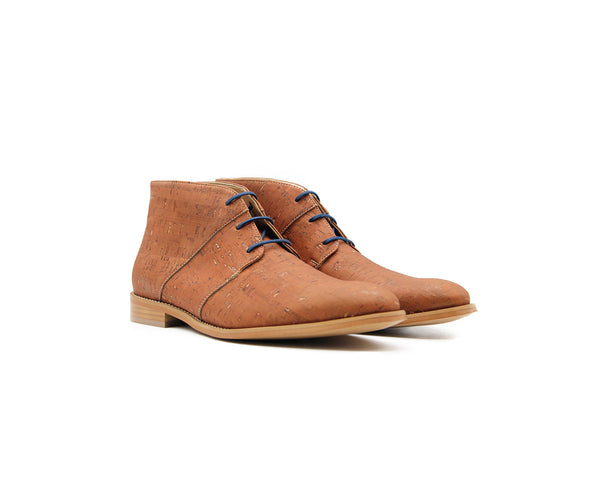 Vegan Casual Bootie | Beige (Blue Laces) - Vegan Shoes Rutz