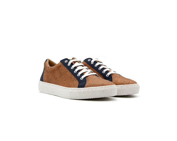 Regular Sneakers | Beige Recycled PET Blue - Vegan Shoes Rutz