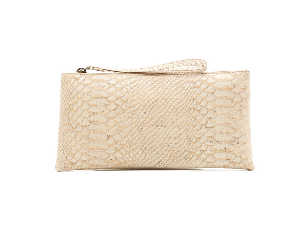 Vegan Clutch/Wristlet | White Snake - Vegan Shoes Rutz