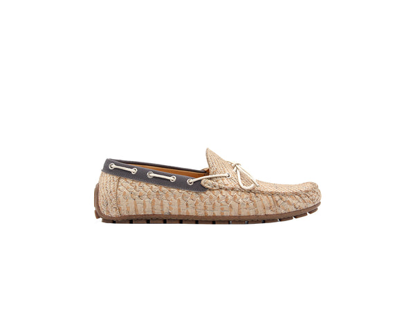 Mocassins | White Snake & R-PET Grey - Vegan Shoes Rutz