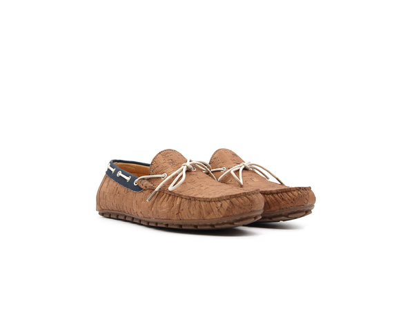 Mocassins | Beige & Recycled PET Blue - Vegan Shoes Rutz