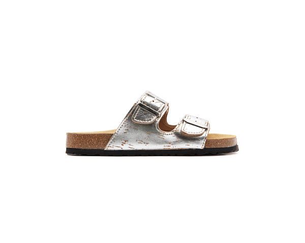 Vegan Buckled Slippers | Silver