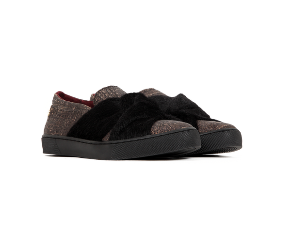Vegan Slip Ons <br> Croco Black