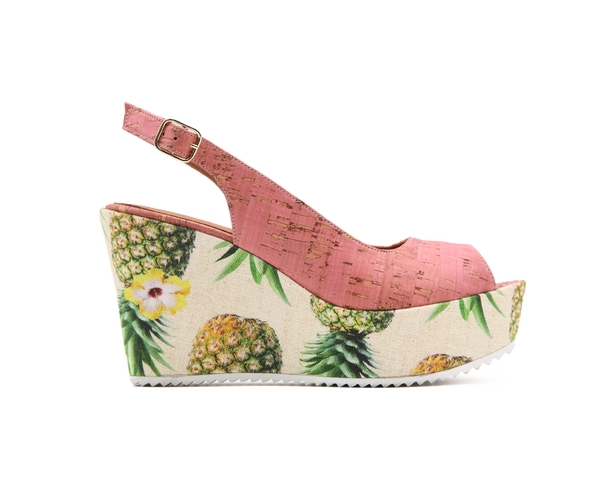 Eco Wedge Peep Toe | Pink / Pineapple - Vegan Shoes Rutz