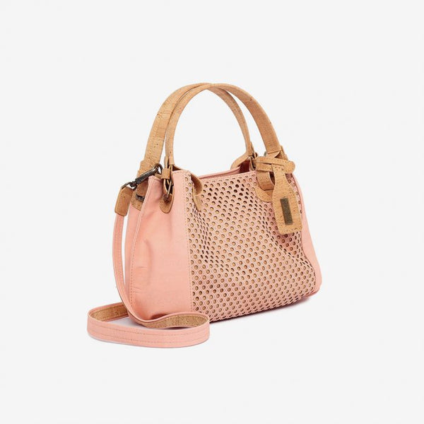 Laser medium Bag Pale pink and Natural Cork