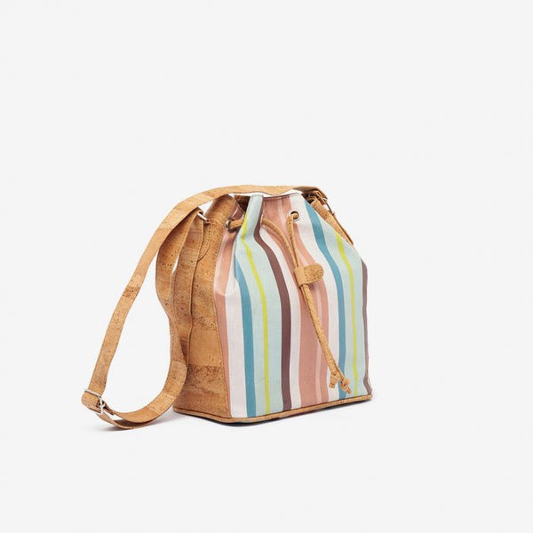 Bucket bag stripes and natural cork