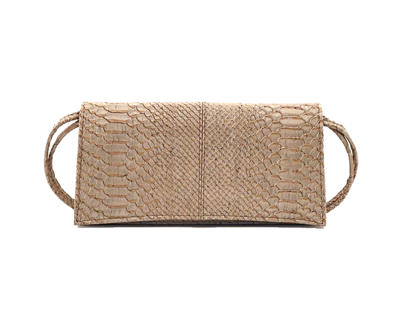 Vegan Clutch Bag | White Snake - Vegan Shoes Rutz