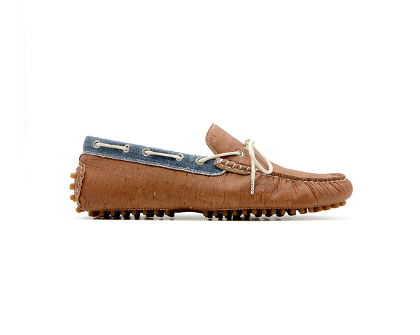 Vegan Mocassins | Beige & Organic Blue - Vegan Shoes Rutz