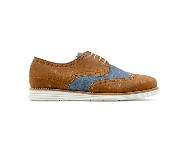 Casual Derby | Beige & Organic Blue