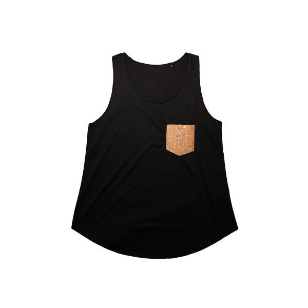 Sleeveless Vegan T-Shirt | Black & Natural-Silver - Vegan Shoes Rutz