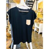 Short Sleeve Vegan T-Shirt | Black & Natural-Silver - Vegan Shoes Rutz