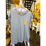 Short Sleeve Vegan T-Shirt | Mixed Grey & Natural-Silver - Vegan Shoes Rutz