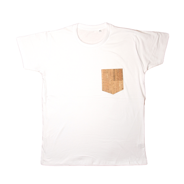 Regular Vegan T-Shirt | White & Natural Cork - Vegan Shoes Rutz
