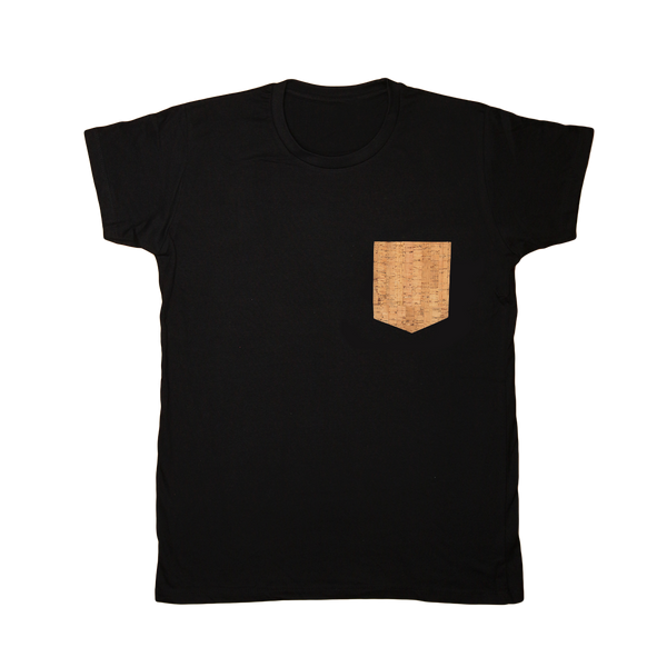 Regular Vegan T-Shirt | Black & Natural Cork - Vegan Shoes Rutz