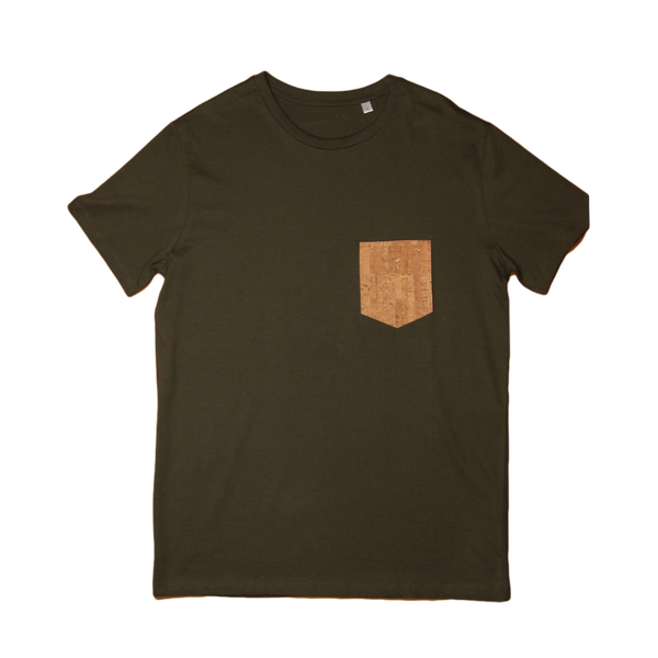Regular Vegan T-Shirt | Army Green & Natural Cork - Vegan Shoes Rutz