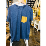 Regular Vegan T-Shirt | Mixed Blue & Mustard Cork - Vegan Shoes Rutz