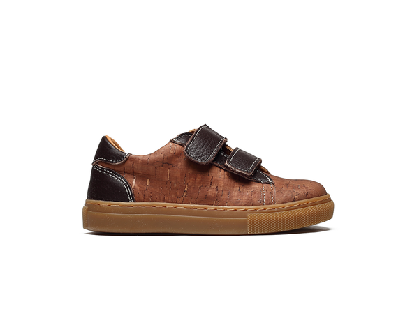 Vegan Kids Sneakers Two Velcros | Beige & Brown - Vegan Shoes Rutz