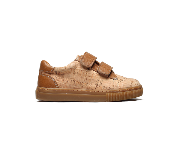 Kids Sneakers Two Velcros <br> Natural & Camel