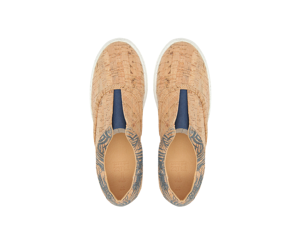 V-Strap Sneakers | Natural & Tropic Blue - Vegan Shoes Rutz
