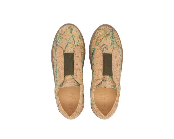 T-Strap Sneakers | Tropic Green & Natural (Beige Sole)