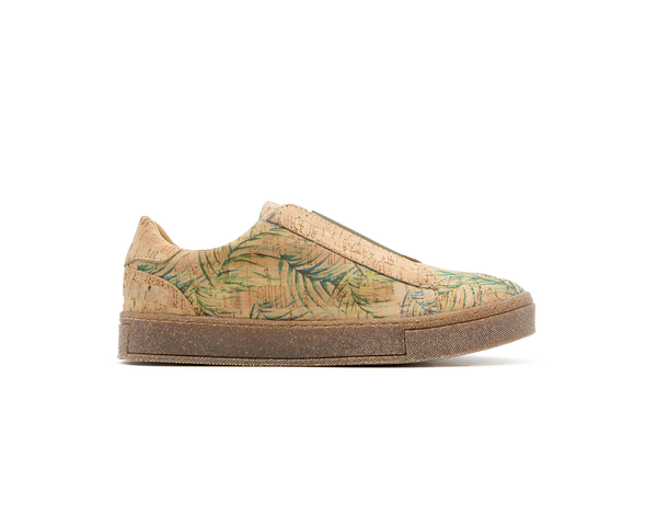 Vegan T-Strap Sneakers | Tropic Green & Natural (Beige Sole) - Vegan Shoes Rutz