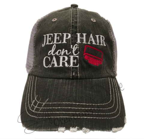 10a23982 Jeep Hair Don't Care Trucker Hat - Jeep Grill – Snap A Pose Creations