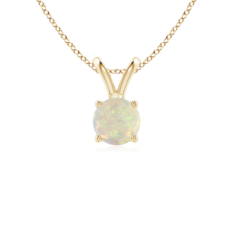 14k Gold and Opal October Birthstone Solitaire Necklace