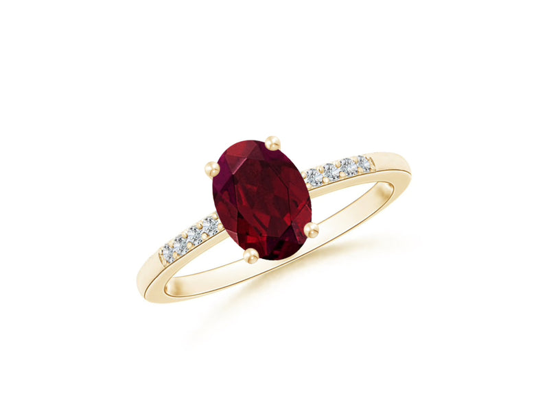 14k Oval Garnet and Diamonds January Birthstone Ring