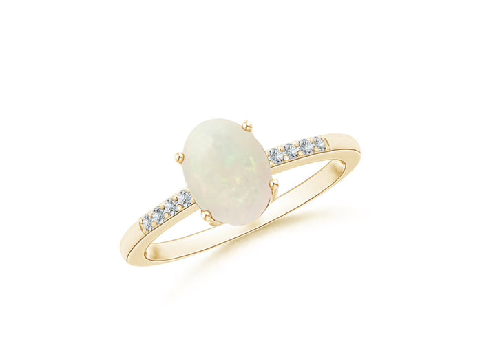 14k Oval Opal and Diamonds October Birthstone Ring