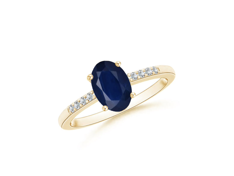 14k Oval Sapphire and Diamonds September Birthstone Ring