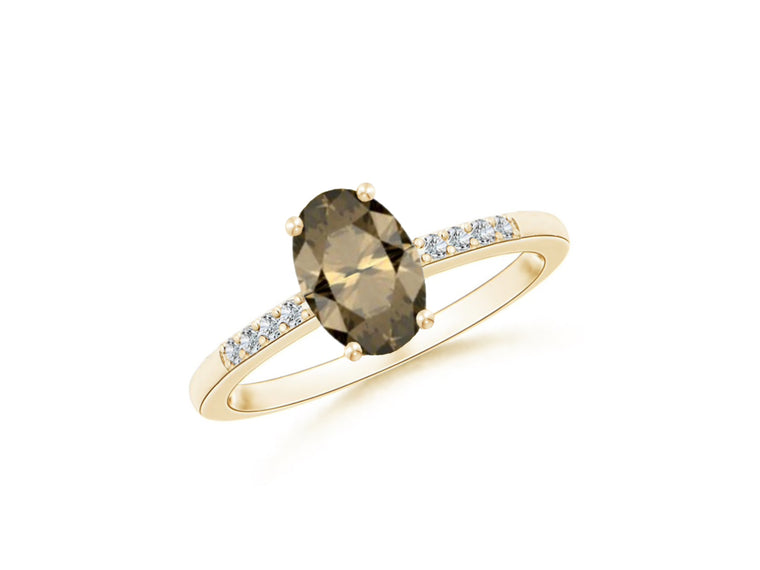 14k Oval Smoky Quartz and Diamonds June Birthstone Ring